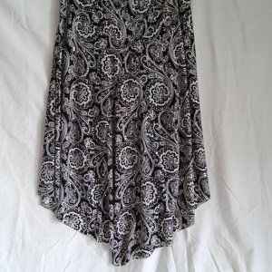 Black and White Paisley Sequined Hi/Lo Skirt